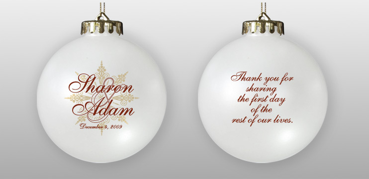 Personalized Two-Sided Wedding Favor Ornament