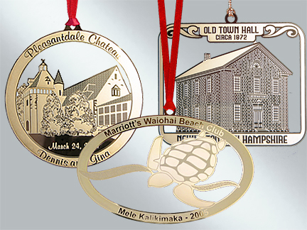 Custom brass Christmas ornaments available in bulk from Howe House Limited Editions.
