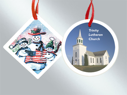 Ceramic custom Christmas ornaments at wholesale prices from Howe House Limited Editions.