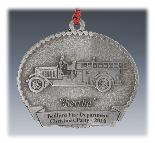 Custom Pewter Fire Truck Ornament