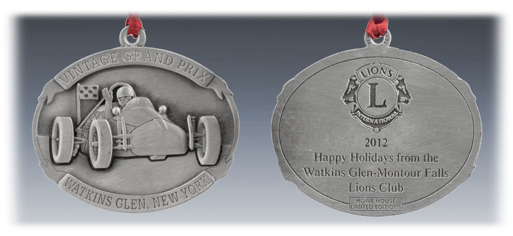 Custom Pewter Racing Club Ornament
