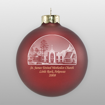 Custom Glass Methodist Church Ornament