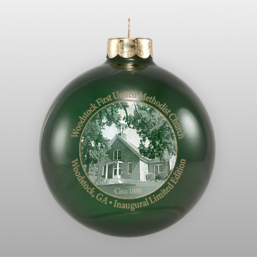 Custom Glass Green Church Ornament