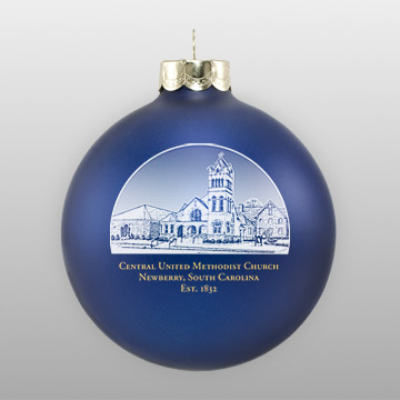 Custom Blue Glass Sketch Ornament