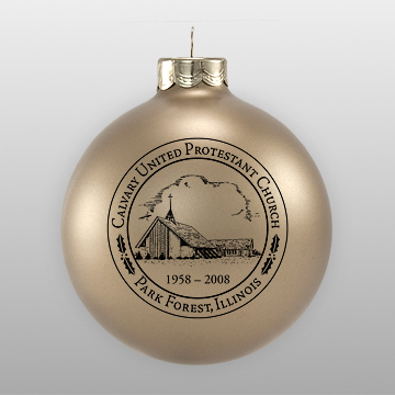 Gold Custom Glass Church Sketch Ornament
