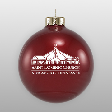 Dark Red Custom Glass Church Sketch Ornament