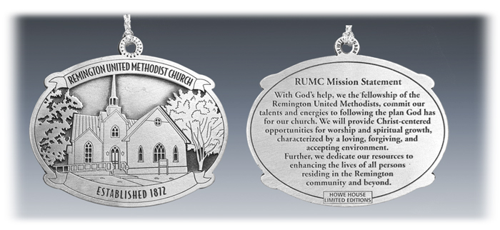 Custom Pewter United Methodist Church Ornament