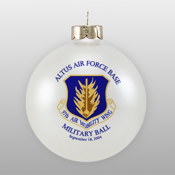 Personalized White Glass Military Ornament