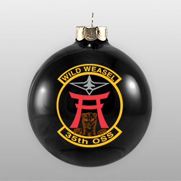 Black Military Custom Glass Ornament