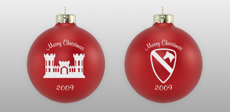 Matte Red Custom Military Glass Ornament